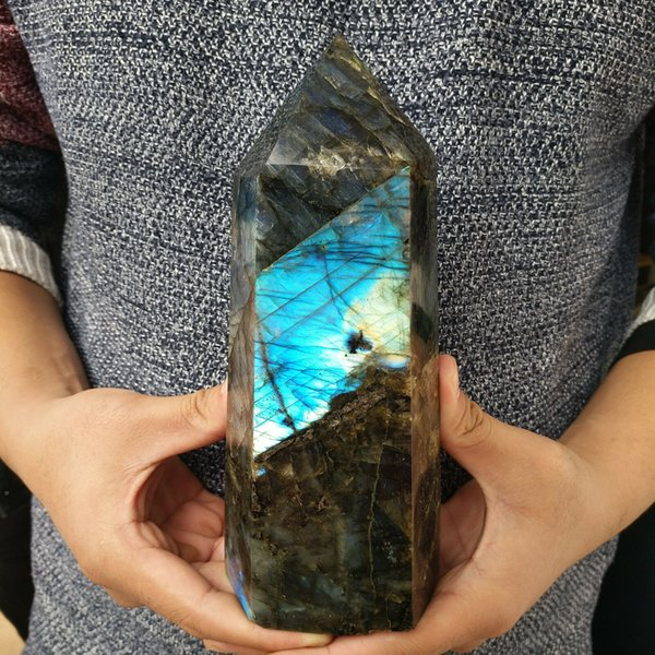 Natural Colorful Labradorite Crystal Obelisk Quartz Specimen Healing