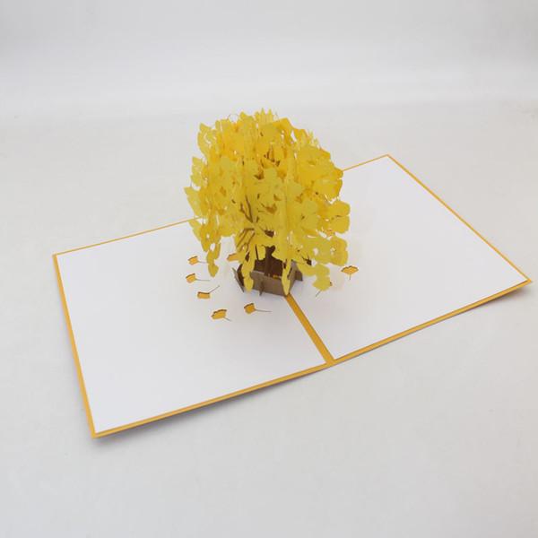 Sıcak El Yapımı Kirigami Origami 3D Pop UP gingkgo Ağacı Tebrik Kartları Doğum Günü Noel Partisi Hediye Için Davetiye