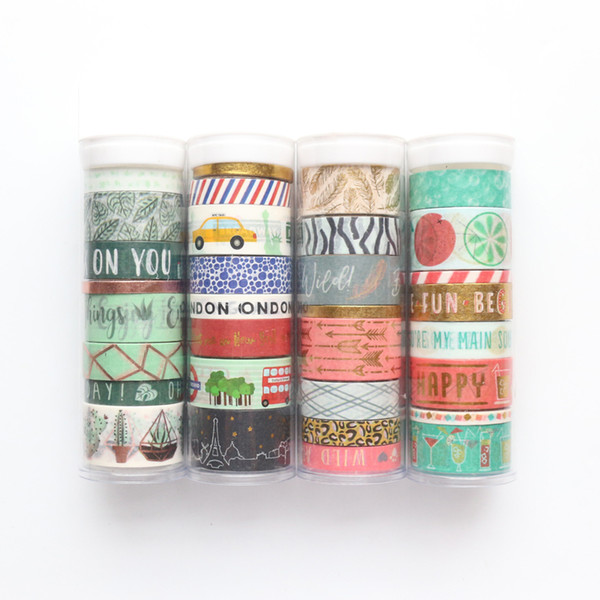 Domikee New Cute Foil School Decorative Washi Tapes Set For Diary Planner Stationery,kawaii Decorative Diy Masking Tape Set,8pcs T8190626