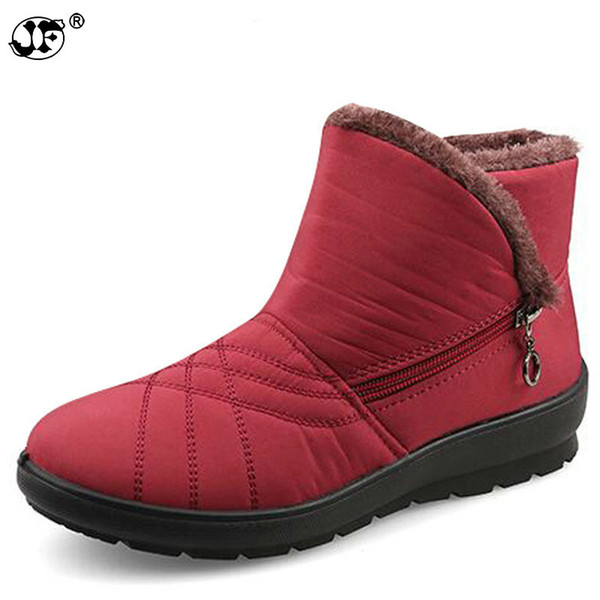 Waterproof Flexible Cube Woman Boots High Quality Cozy Fur Side Zip Snow Boots Winter Shoes Woman Plus Size 42 766