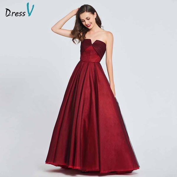 Dressv бордовый элегантное платье без бретелек длинное платье выпускного вечера линии рюшами на молнии до пола вечернее платье выпускного платья