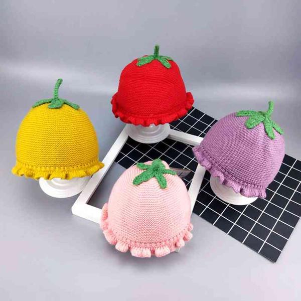 Flower Pot Fisherman Princess Hat Baby Child Baby Kids Winter Warm Design Knit Hats Girls Princess Lace Wool Hats Caps H2