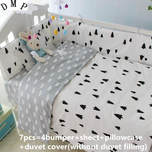 Promotion! 6/7PCS baby crib bedding set baby bed set Comforter , 120*60/120*70cm