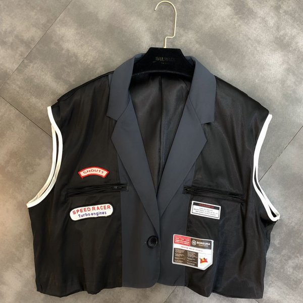 2019 summer new lapel sleeveless stitching label decoration trend loose vest female