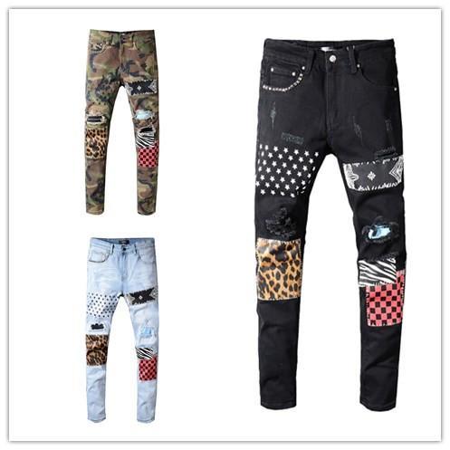 Mens 2019 designer di lusso nero jeans camouflage strappato jeans skinny pantaloni patchwork Leopard mens designer pantaloni rivetto jeans moto D30