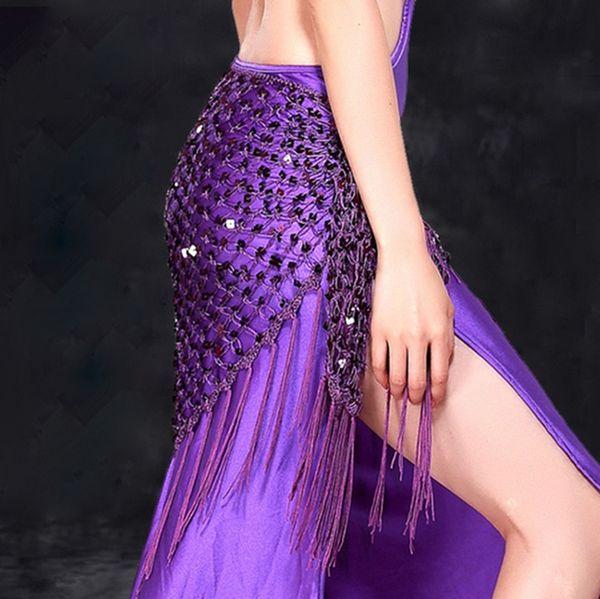 12 couleurs vêtements de formation de danse du ventre accessoires étirement long gland triangle ceinture main crochet danse du ventre hanche foulard paillettes