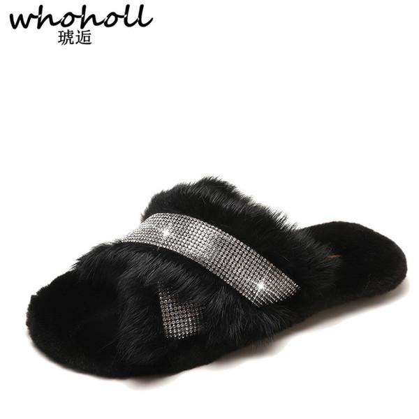 WHOHOLL Fluffy Fur Slippers Women Fashion Metal Bling Fur Slides Flat Flip Flops Summer Winter Home Slipper Ladies Shoes