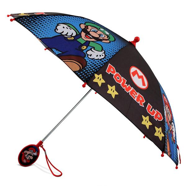 3-7 yaş çocuk için uygundur, / mavi siyah AlongQaQ küçük çocuk littleMario ve Luigi karakter yağmurluk şemsiye,