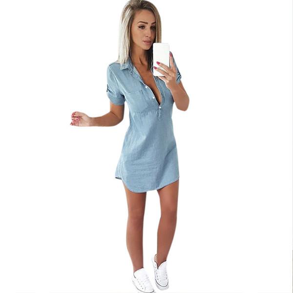 Femmes d'été en vrac Casual Denim Dress manches courtes Deep V Neck Shirt Dress Vente chaude Fashion Sexy Shirt Dress