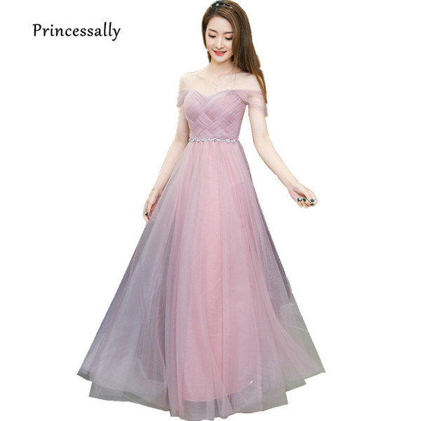 Tozlu Pembe Uzun Nedime Elbisesi Sevgiliye Tül Ucuz Pileli Gelinlik Modelleri Altında 50 $ Genç Nedime Elbisesi Dama Elbiseler j190717