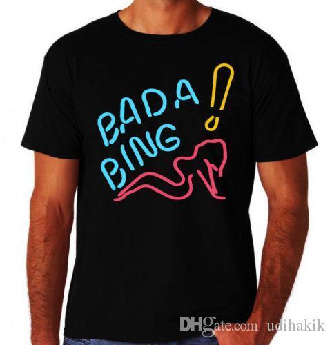 Bada Bing Strip Club Pole Dancer Stripper Italian Crime Mafia New Black T-Shirt Crew Neck Regular Short Tee Shirt For Men