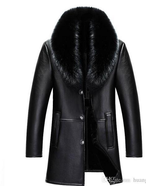 2018 winter NEW Men Genuine leather jacket mens sheepskin fur Coat male slim Business Casual Long jacket M-4XL