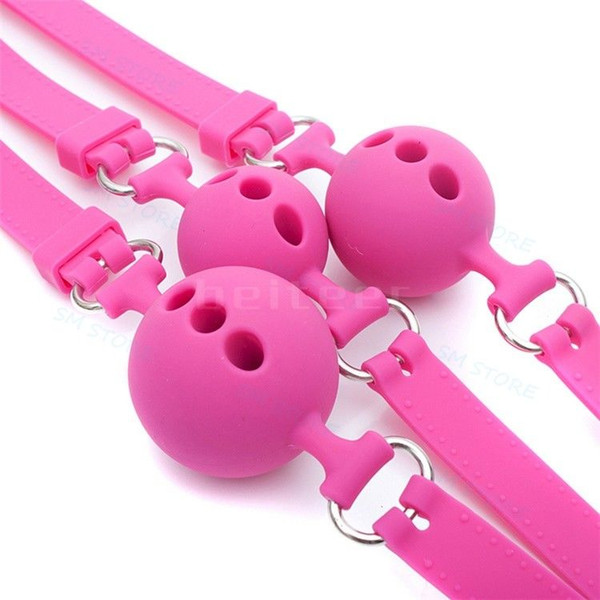 New Pink Full Silicone Breathable Wiffle Ball Mouth Gag Adjustable Lockable Belt #R45