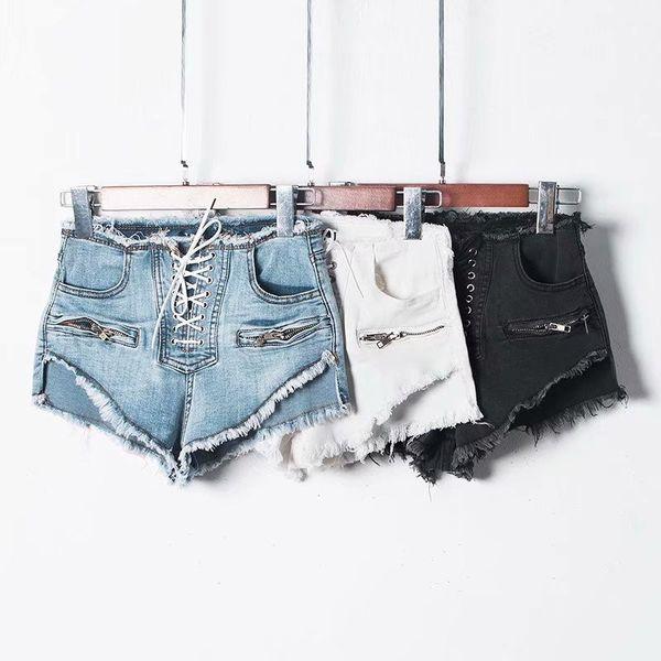 Zíper de verão Sexy Shorts De Cintura Alta Feminina Azul Preto Branco Lace Up Coreano Denim Shorts Jeans Com Cordão Casual