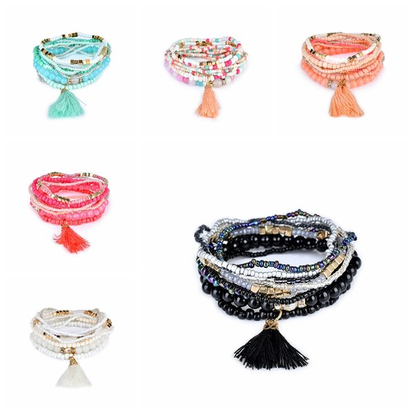 Bohemian Beach Multilayer Crystal Bracelets Fashion Women Beads Tassel Charm Bangles Lady Jewelry Girl Party Festival Gift TTA1203