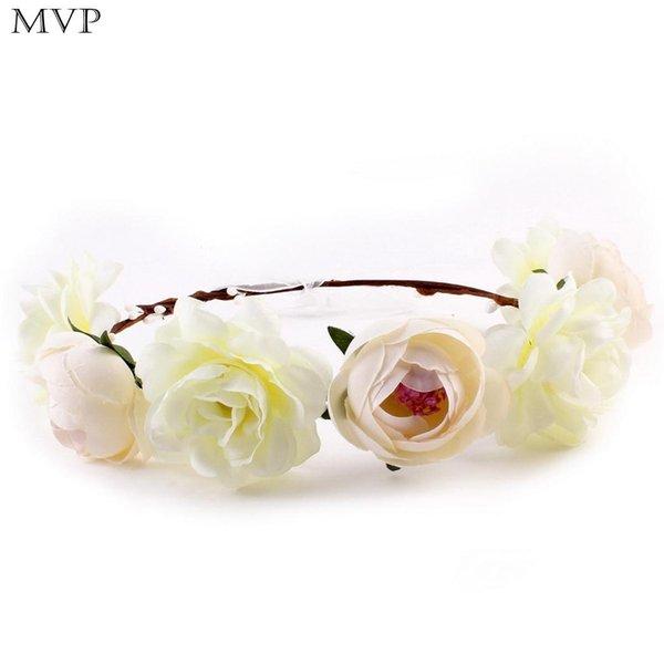 Moda Kırmızı Pembe Dekorasyon Bantlar Çelenk Kırmızı Kadınlar Gül Çiçek Beyaz Saç Haki Mavi