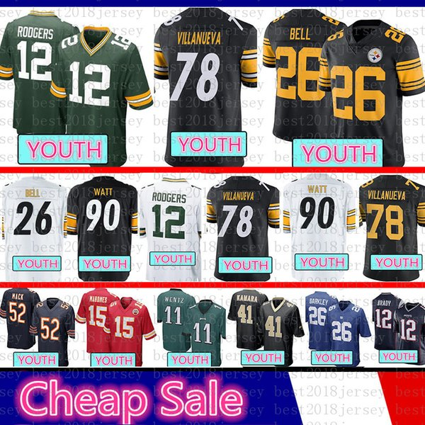 2395bf94 2019 Kids Pittsburgh Youth Steelers 84 Antonio Brown 78 Alejandro  Villanueva 90 T.J. Watt 26 Bell Green Jersey Bays Packers 12 Aaron Rodgers  From ...
