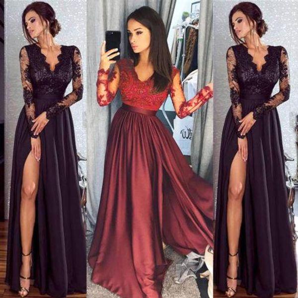 Fashion Women Lace Long Sleeve V neck Dress Evening Party Ball Prom Gown Formal Wedding High Waist Long Dress