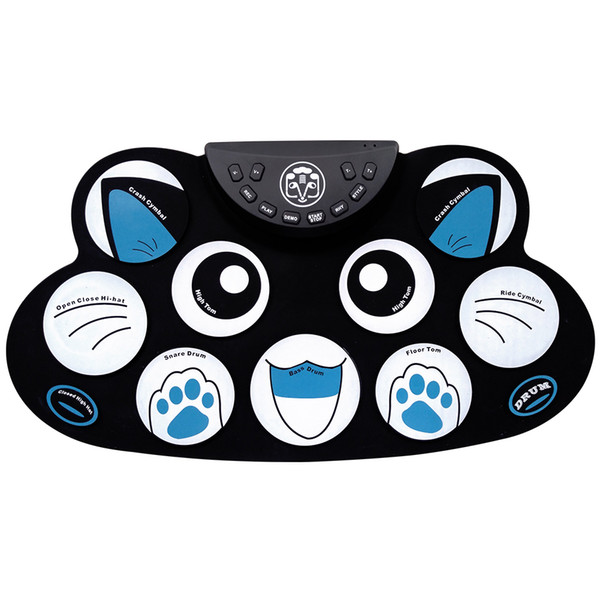 best selling Cartoon Holiday gift Portable Electronic Roll up Drum Pad Kit Silicon Foldable with Stick US Plus