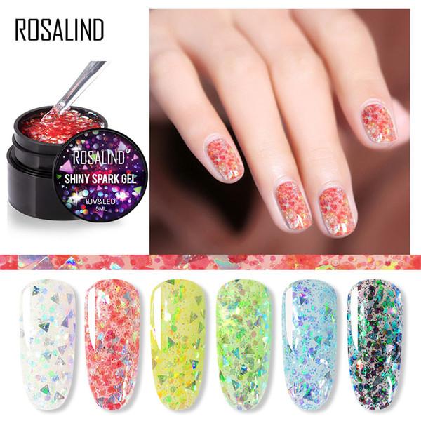 Розалинда 5ML Блестящая Свеча гель лак для ногтей Яркое Для Блеск Картина Nail Art Design Poly UV Top Base Грунтовка для маникюра Art
