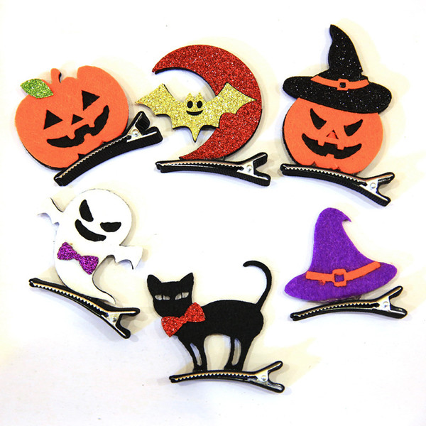 top popular Cute Funny Halloween Girls Hairpins Solid Felt Hat Ghost Pumpkin Cat Hallowmas Hair Clips Party Festival Headdress 8C1283 2021