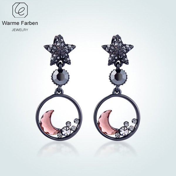 WARME FARBEN Earrings for Women Fashion 925 Sliver Jewelry Crystal From Swarovski Star Moon Drop Earrings Brincos for Girl Y18110503