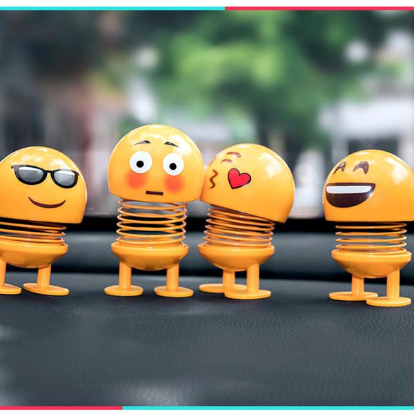 Gülümseme Emoji Bahar Bebek Çocuk Oyuncak Sallayarak Kafa Kalp Şeklinde Oyuncaklar Birden Stilleri Plastik Çimento Sarı Güzel