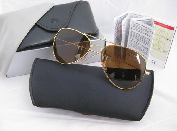 2019 New RAYs Sunglass Erika Men Women Eyewear Fashion 58mm Aviator BEN Sun Glasses BANS UV400 glass Lenses r3025 wayfarer Box case
