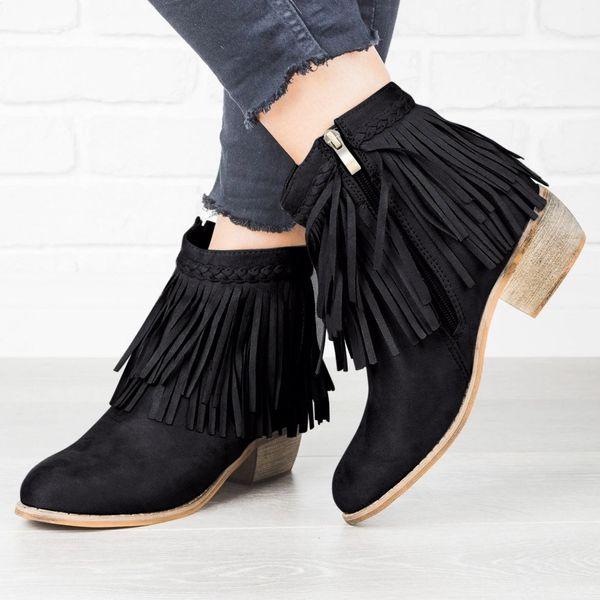 Bottines Bottes pour femmes noires Roman Tassel carrées Talons cheville Femme ronde Chaussures Toe Platform Plus Size 35-43 2019 Nouveau