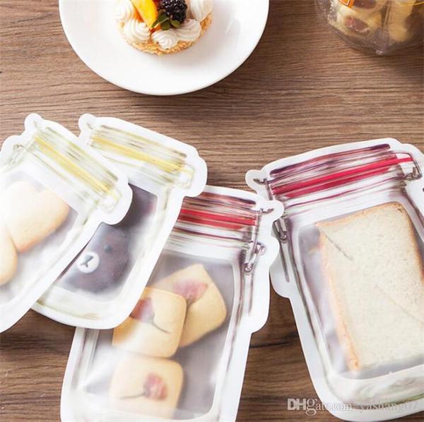 Resuable Fermuar Gıda Saklama Çantası Mason Kavanoz Şekilli Toplu Gıda Depolama Konteyner Çerez Aperatifler sızdırmaz Çanta Mutfak Organizasyon Çanta A3