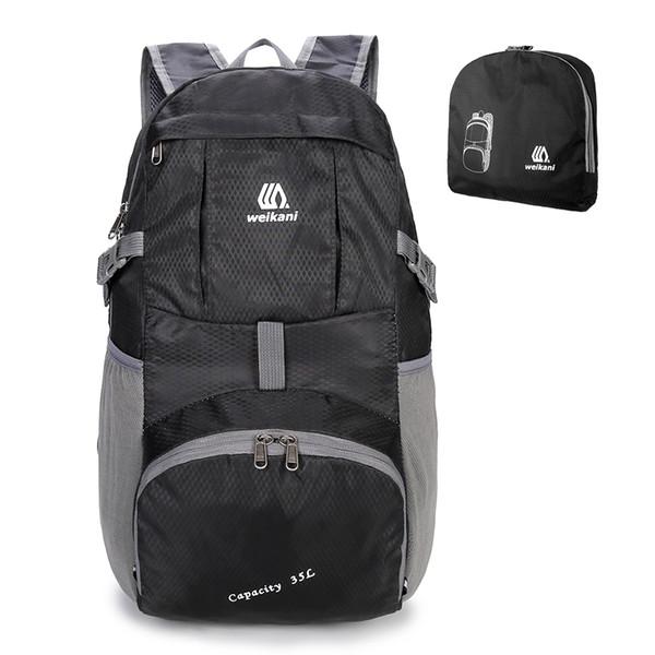 Men Women Outdoor Backpack Waterproof Foldable Backpack Lightweight Nylon Hiking Climbing Rucksack Folding Camping Travel Bag