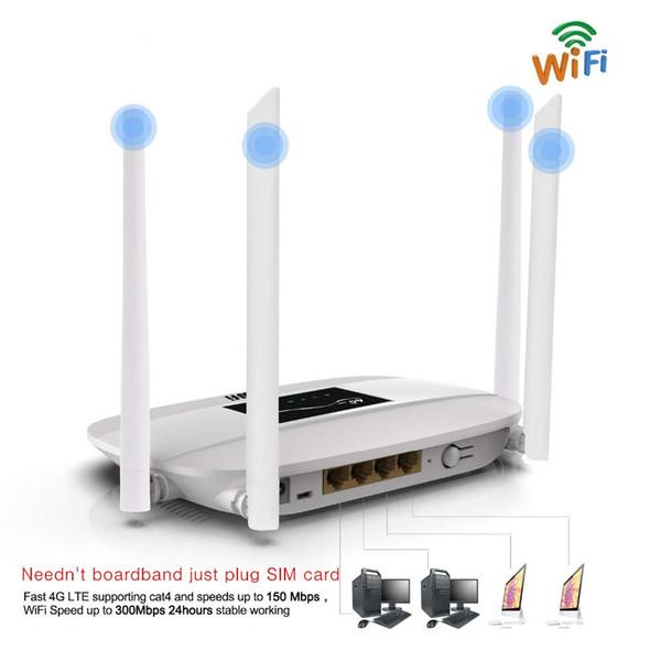Lot 10 adet 300 Mbps Unlocked 4G LTE Wifi Router, 4 Adet Antenler ve LAN Portu ile kapalı 4G Kablosuz CPE RouterSIM Kart Yuvası PK HUAWEI B593