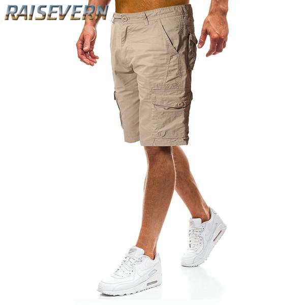 RAISEVERN Casual Shorts Herren Top Design Schwarz Army Khaki Shorts Herren Sommer Outwear Hip Hop Casual Outwear Herren 2019