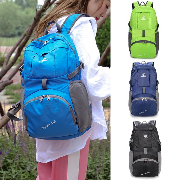 Lightweight Nylon Foldable Backpack Water-resistant Folding Bag Portable Men Women Backpack Rucksack for Travel Camping Hiking