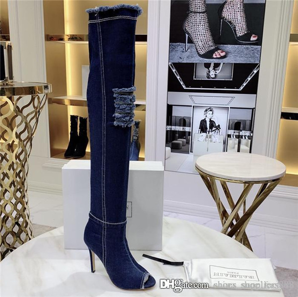 2019 Jean Boots Women Thigh High Boots, Over Knee High Bottes with Holes Blue Heels Zipper in Jeans Shoes, Heel-Height 11 cm