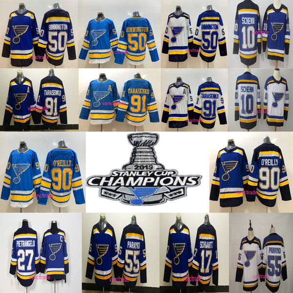 top popular 2019 Stanley Cup Champions patch St. Louis Blues 50 Binnington 55 Colton Parayko 90 Ryan O'Reilly 91 Vladimir Tarasenko Hockey Jerseys 2019