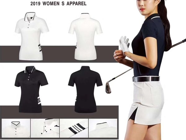 top popular 2019 OEM Ti Golf T-shirt summer dry fit milk ice silk fabric smooth touch sports tops for lady 2 color available 2019