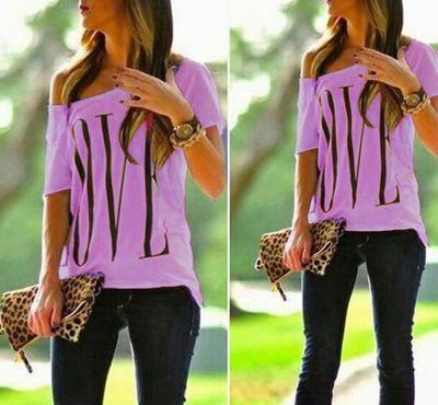 Femmes Designer T Shirt 2019 D'été Nouvelle Mode Imprimer Off-épaule À Manches Courtes Casual Lettre En Vrac LOVE Top Mode Bretelles T-shirts 16 Style