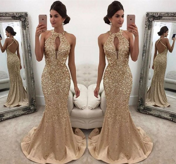 Gold Hand Extravagance Drill Evening Dresses Gauze T-shirt Chest Vent Hollow Sexy Halter Fishtail Prom Party Dresses DH14