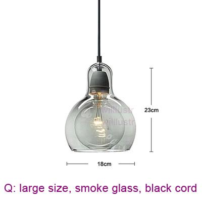 large, smoke glass, black cord
