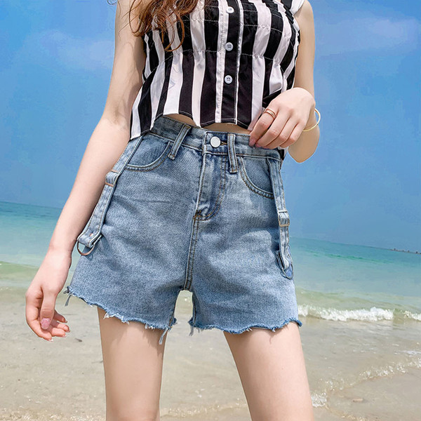 I vestiti delle donne estive coreane di colore solido Slim due lati cinghia decorativa denim shorts a vita alta era sottili pantaloni neri grezzi caldi
