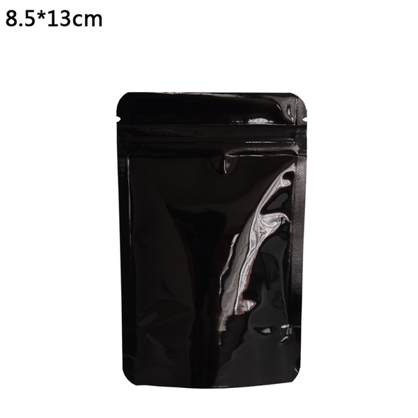 8.5*13cm 100pcs/lot Black Doypack Zip Lock Dried Food Nuts Packing Pouch Stand Up Aluminum Foil Package Bag Water Proof Top Zipper Bags