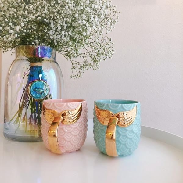 Gold Mermaid Ceramic Mug Morning Mugs Pink Mint Green Porcelain Anti-hot Breakfast Milk Coffee Tea Gift Cup Golden Handel 420ml C19041302