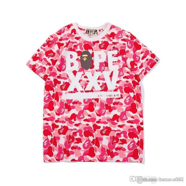 19ss verão novo em torno do pescoço pullover manga curta XXV camuflagem sombreamento impresso algodão T-shirt estilo japonês T-shirt. atacado