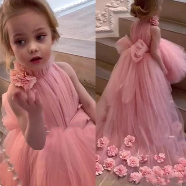2020 Hot Princess Flower Girls Dresses Pink High Neck Sleeveless Tulle Sash Hand Made Flowers Sweep Train Kids Birthday Girls Pageant Gowns