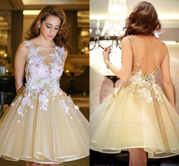 Beautiful Petal Flora Champagne Homecoming Dresses A Line Sheer Crew Neck Backless Tulle Knee Length Short Prom Cocktail Gowns BC1724