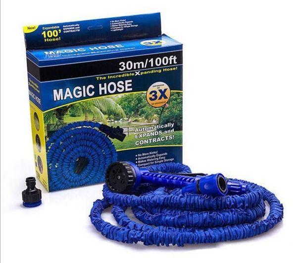 100FT Genişletilebilir Esnek Bahçe Sihirli Su Hortumu Püskürtme Memesi Kafası Ile Mavi Yeşil perakende kutusu ile Ücretsiz Kargo