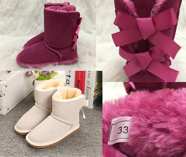 NEW Australia Snow Boots Girls Style Kids Cute Button Waterproof Slip-on Children Winter Cow Leather Boots luxury designer shoes EUR 21-35