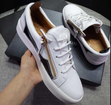 Italy Luxury Casual Shoes Color Matching Zipper Men and Women Low Top Flat Shoes Genuine Leather Mens Shoes Designer Sneakers Trainers 35-47