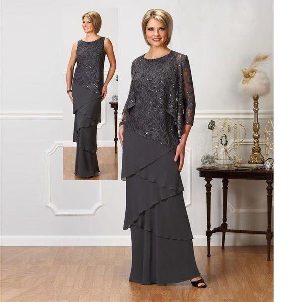 Gri Dantel Anne Gelin Elbiseler Ile Uzun Kollu Ceketler Jewel Boyun Payetli Abiye giyim Kat Uzunluk Düğün Konuk Elbise